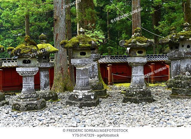 Stone lanterns at Toshogu Shrine at Nikko, Japan, Asia