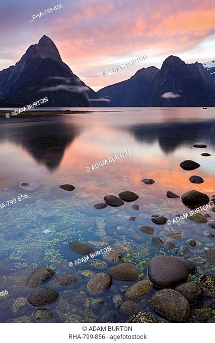 Dawn sky above Milford Sound, Fiordland National Park, UNESCO World Heritage Site, South Island, New Zealand, Pacific