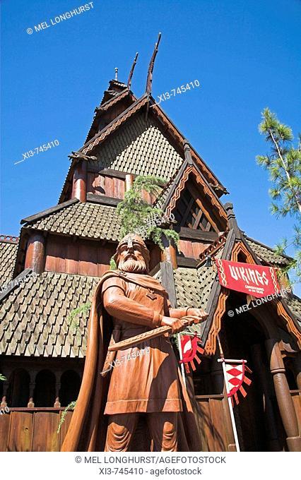 Viking, Stave Church in Norwegian section of EPCOT Center, World Showcase, Disney World, Orlando, Florida, USA