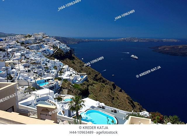 Greece, Europe, Cyclades, island, isle, islands, Greek, outside, Mediterranean Sea, day, nobody, Santorin, Santorini, Firostefani, Imerovigli, town, view, town
