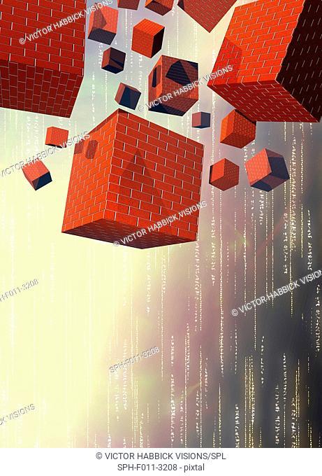 Computer firewalls, conceptual illustration