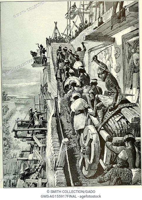 Black and white illustration depicting the construction of the city Ur, in which a slave driver, or the conquerer Ur-Gur