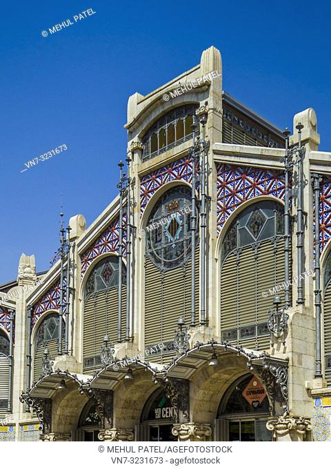 Exterior of the Central Market (Mercat Central / Mercado Central), Valencia, Spain, Europe. The Central Market is a large indoor market containing over 950...