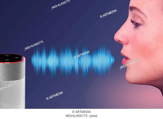 Woman speaking to voice control