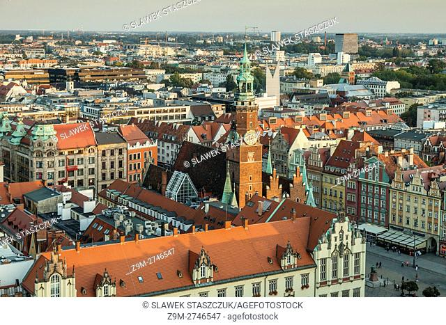 A view on old town from Elizabeth church tower, Wroclaw, Lower Silesia, Poland