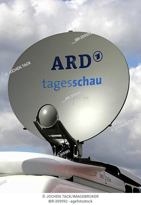 Satellite dish of outside broadcast unit, german TV