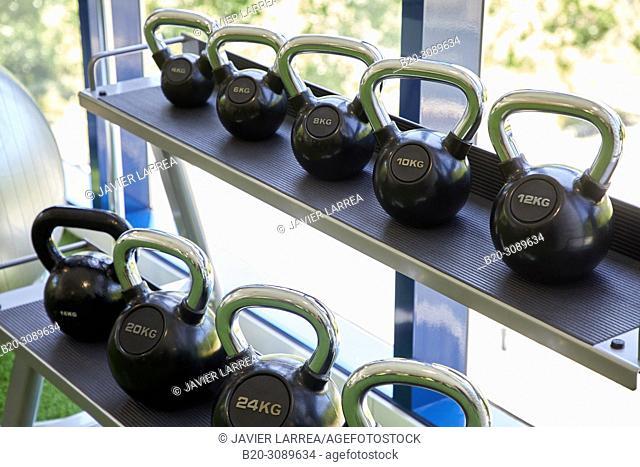 Dumbbells, Fitness center, Donostia, San Sebastian, Basque Country, Spain, Europe