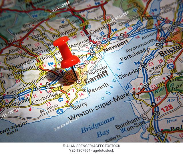 Map Pin pointing to the City of Cardiff, Wales on a road map