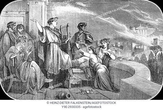 Roman Emperor Nero Claudius Caesar and the Great Fire of Rome, 64 AD