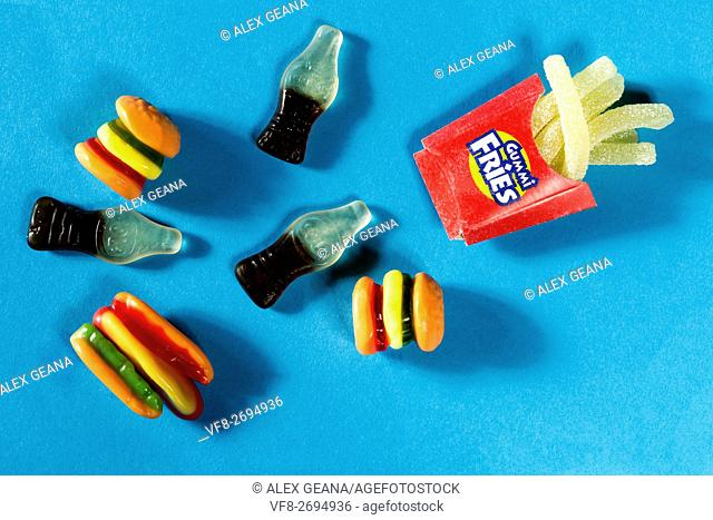 An array of festive summer holiday inspired Gummie candies, from coca-cola bottles to french fries
