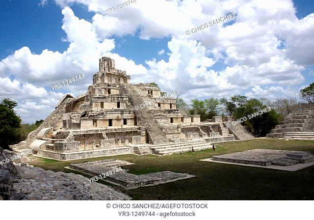 The pyramid among the Mayan ruins of Edzna in Campeche State in Mexico's Yucatan peninsula