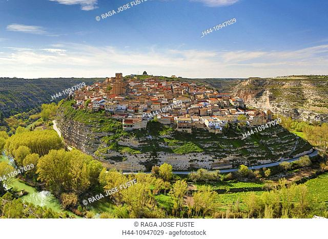 Spain, Europe, Castilla La Mancha, Castile La Mancha, Region, Albacete, Province, Jorquera, City, Jucar River, architecture, bend, colourful, erosion, geology