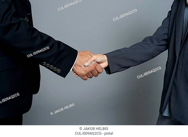 Studio close up of young businesswoman and mature businessman shaking hands