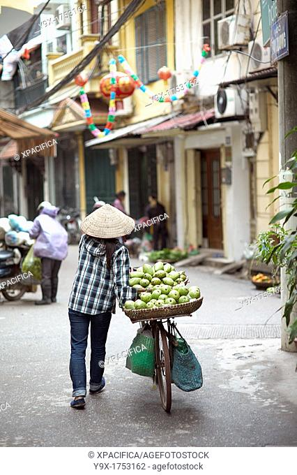A woman selling fruits from a cart in a back alley of Vietnam