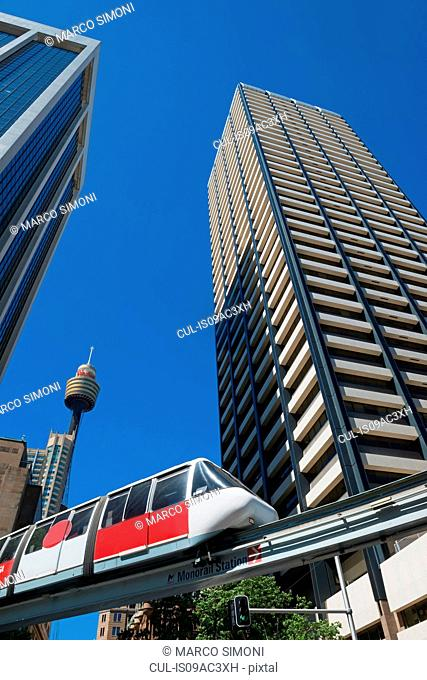 Train traveling on Sydney monorail, Sydney, Australia
