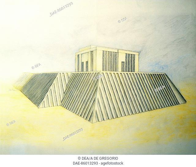 Sumerian civilization. Reconstruction of White Temple at the Sanctuary of Anu, Uruk, Mesopotamia. Drawing