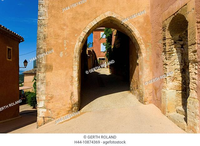 Roussillon, France, Provence, Vaucluse, village, sienna village, houses, homes, tower, rook, lane