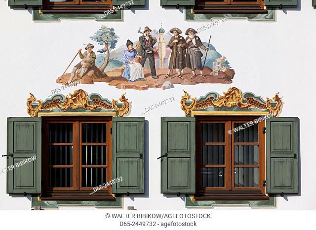 Germany, Bavaria, Wallgau, Bavarian sgrafito building decoration