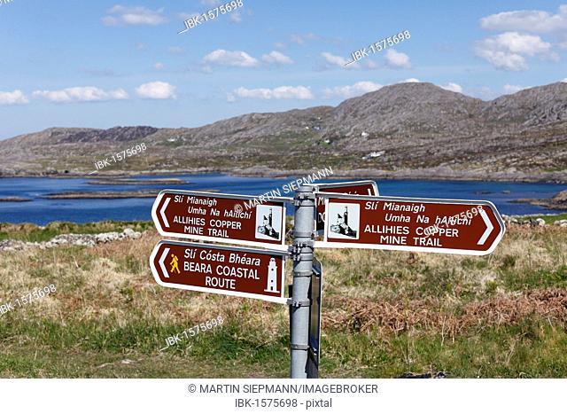 Signpost near Allihies, Slieve Miskish Mountains, Beara Peninsula, County Cork, Ireland, British Isles, Europe