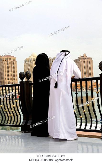 Qatar - Doha - The Pearl - Porto Arabia - Qatari walking on La Croisette