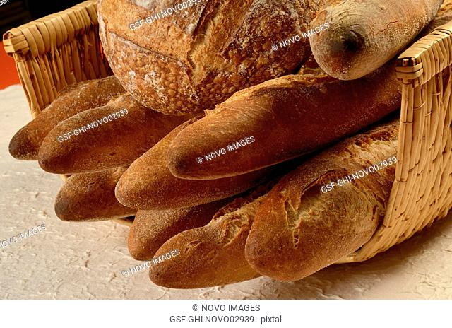 Basket of Various Breads and Baguettes