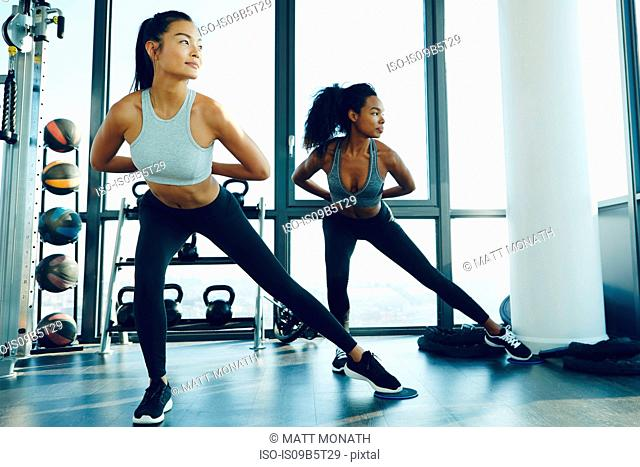 Two young women exercising in gym, doing aerobic workout