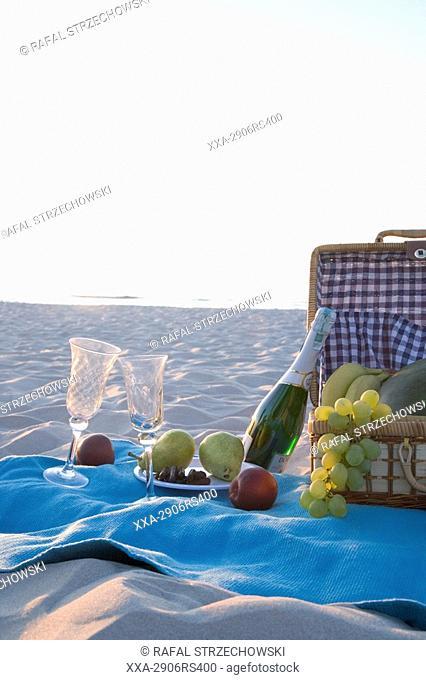 picnic basket on beach