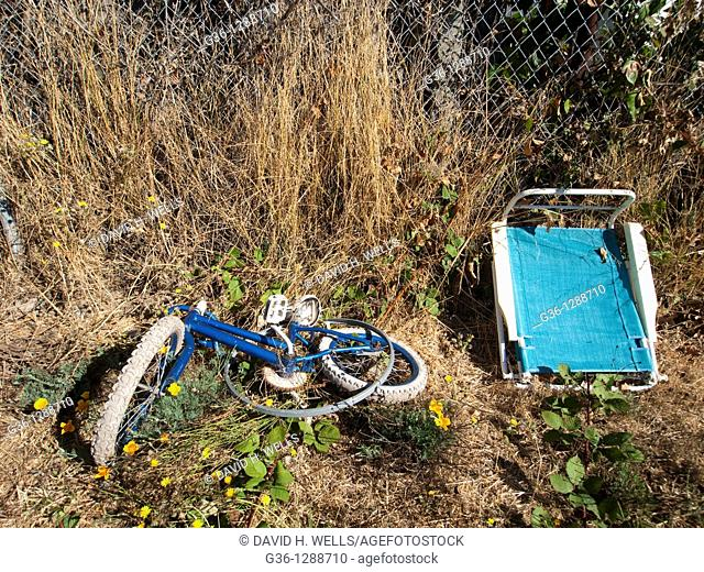 Personal property left behind in the yard, by the former owners in a foreclosed home in Richmond, California, United States