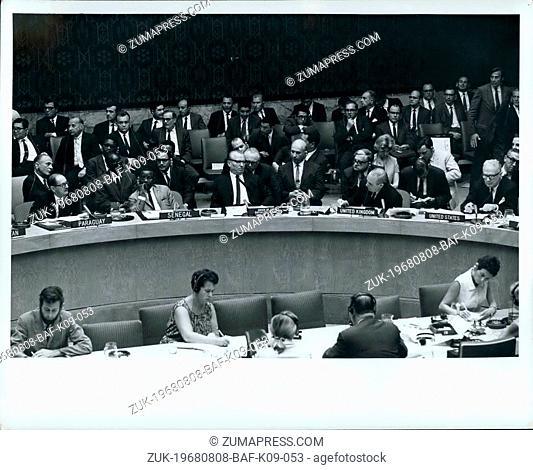 Aug. 08, 1968 - SECURITY COUNCIL BEGINS DEBATE ON SITIUATION IN CZECHOSLOVAKIA The Security Council tonight began debate, at the request of six Concil members