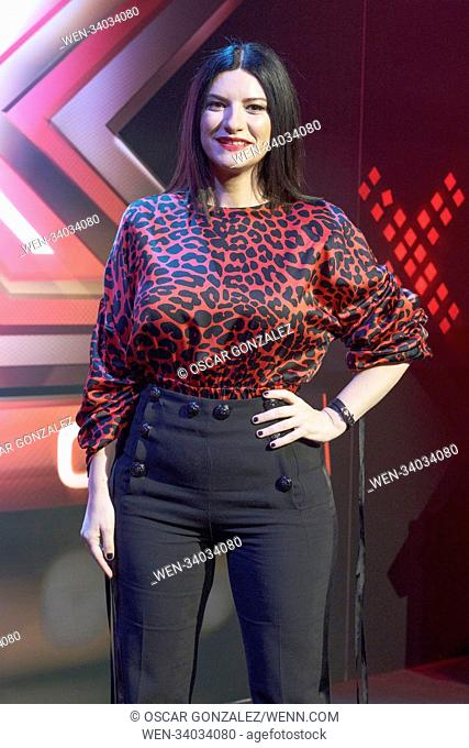 Laura Pausini attending a presentation of the third series of Spanish talent show 'Factor X', in which she appears as a judge, at Mediaset in Madrid, Spain