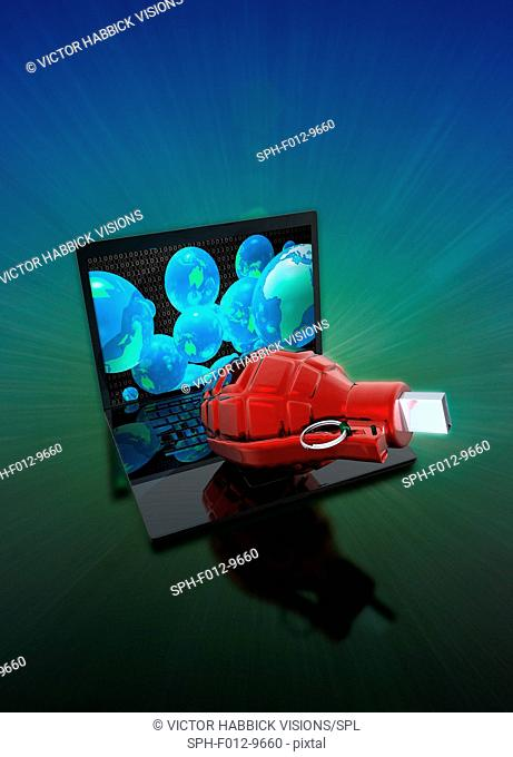 Laptop with grenade and usb device, illustration