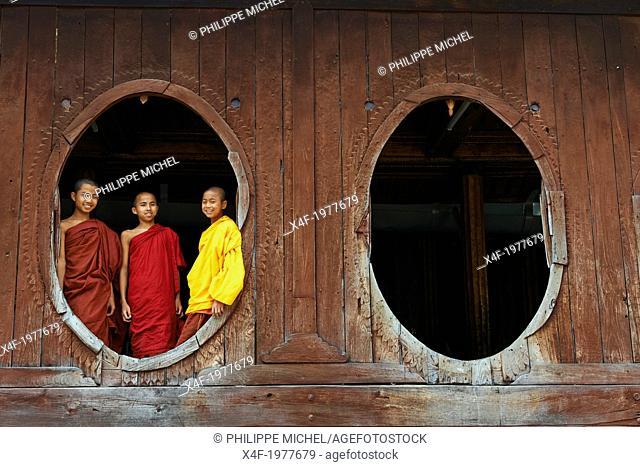 Myanmar (Burma), Shan province, Inle lake, Shweyanpyay monastery