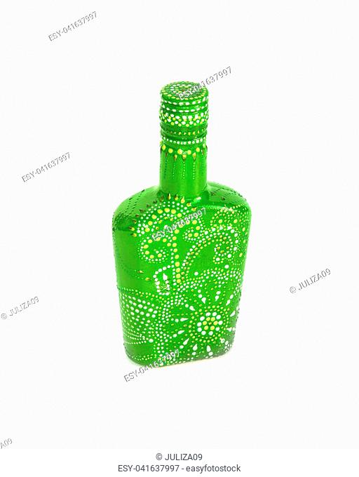 dot painting. bottle painted with paints. very nice decor.isolate. handmade