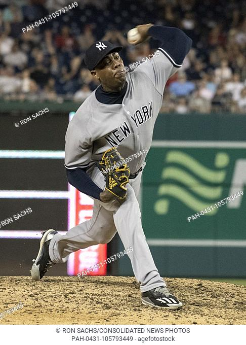 New York Yankees relief pitcher Aroldis Chapman (54) pitches in the ninth inning against the Washington Nationals at Nationals Park in Washington, D.C