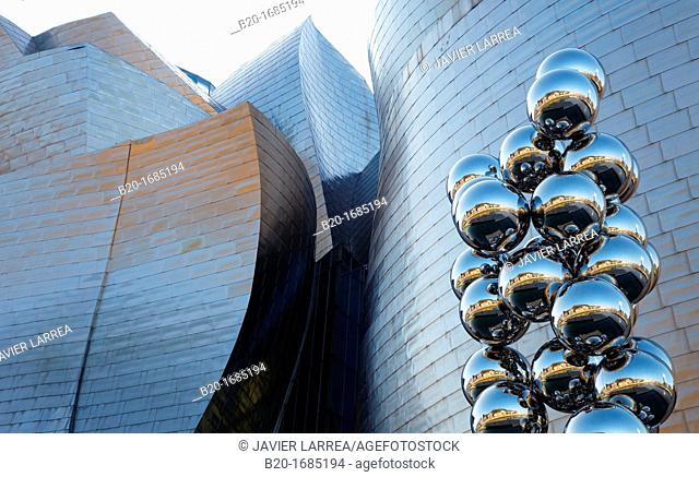 Tall Tree & The Eye, sculpture by Anish Kapoor, Guggenheim Museum, Abandoibarra, Bilbao, Bizkaia, Basque Country, Spain