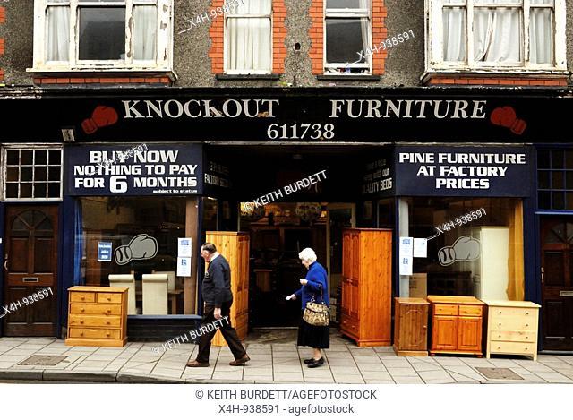 Discount furniture shop, Aberystwyth, Wales