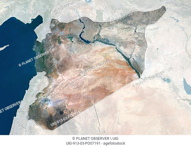 Satellite view of Syria (with country boundaries and mask). This image was compiled from data acquired by Landsat 8 satellite in 2014