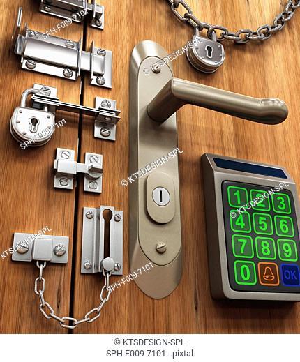 Door with various locks, conceptual artwork