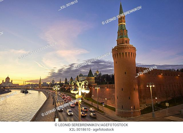 The Beklemishevskaya (Moskvoretskaya) Tower of the Kremlin Wall illuminated at dusk. Moscow, Russia