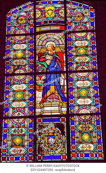 Saint Isabelle Stained Glass Basilica Saint Louis En L'ile Church Paris France. Saint Louis En L'ile church built in Notre Dame was built in 1726 on the island...