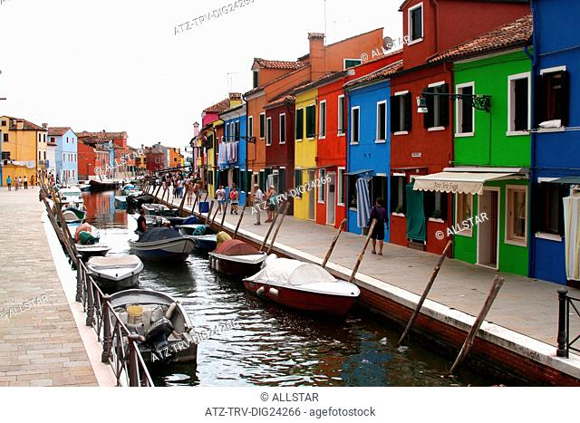 COLOURED HOUSES & CANAL; BURANO, VENICE, ITALY; 03/08/2014