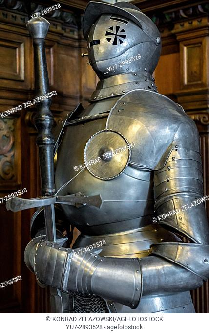 Knightly armour in Grand Armory Hall in Peles Palace, former royal castle, built between 1873 and 1914, located near Sinaia city in Romania