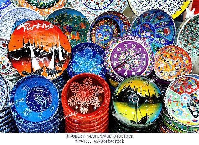 Shop display of painted ceramics inside the Grand Bazaar, Istanbul, Turkey