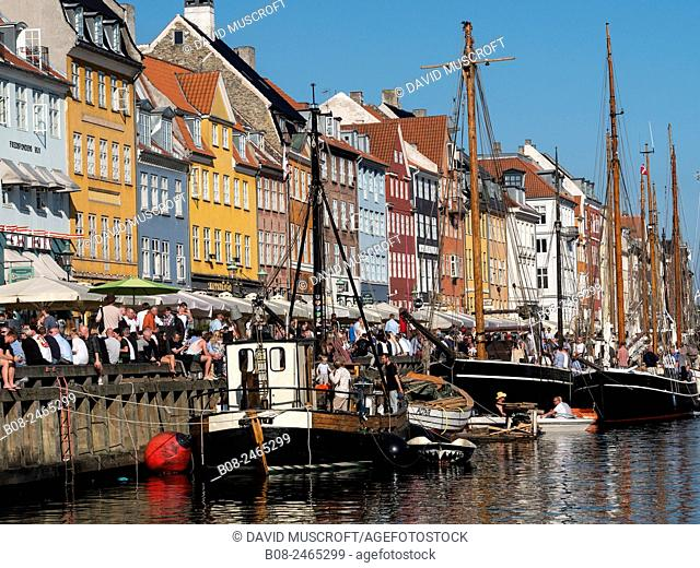 Yachts and traditional boats in the Nyhavn harbour area,Copenhagen,Denmark