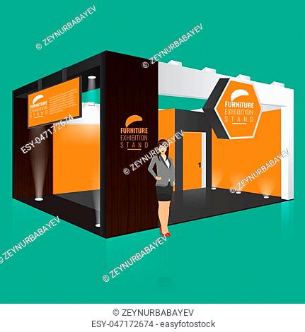 Creative exhibition stand display design with info board. Booth template. Corporate identity. Display Mock-up. Vector Mock up