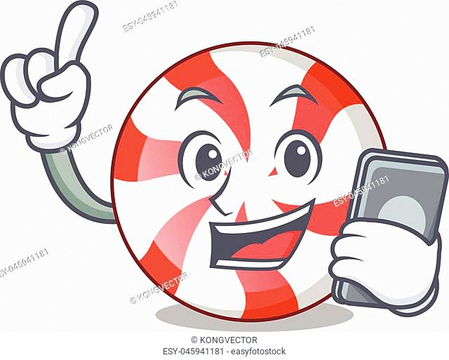 With phone peppermint candy character cartoon vector illustration