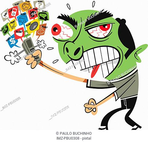 A man angry at too many cell phone pop ups