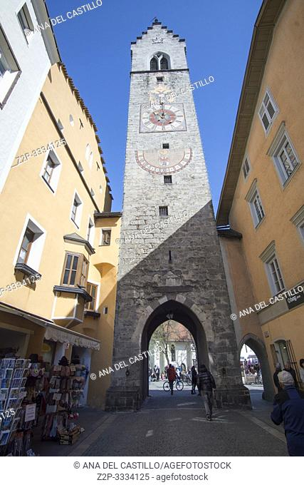 VIPITENO STERZING IN BOLZANO PROVINCE ITALY ON APRIL 16, 2019: Tower of the Twelve