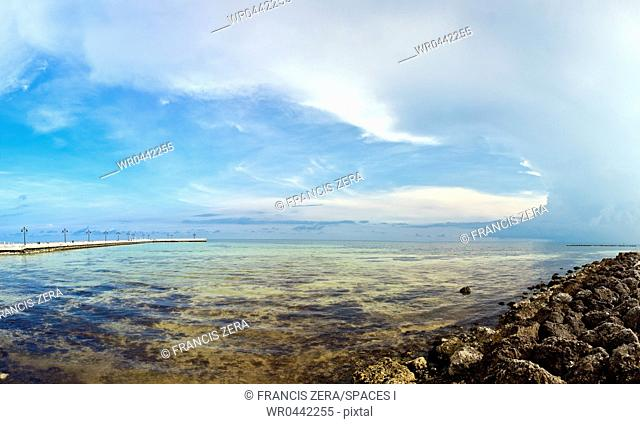 Shallow Coastal Waters under a Blue Sky