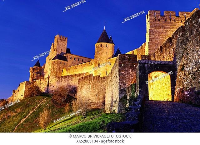 Historic Fortified City of Carcassonne France. The Aude Gate. The Cite' de Carcassonne is a medieval citadel located in the French city of Carcassonne